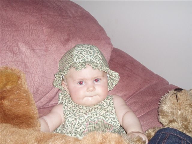 Baby playsuit with applique and matching hat - 6 month old Grace
