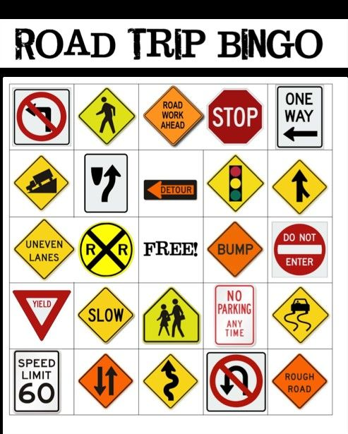 Road Trip Bingo - as you can see, bingo is suitable for any occasion
