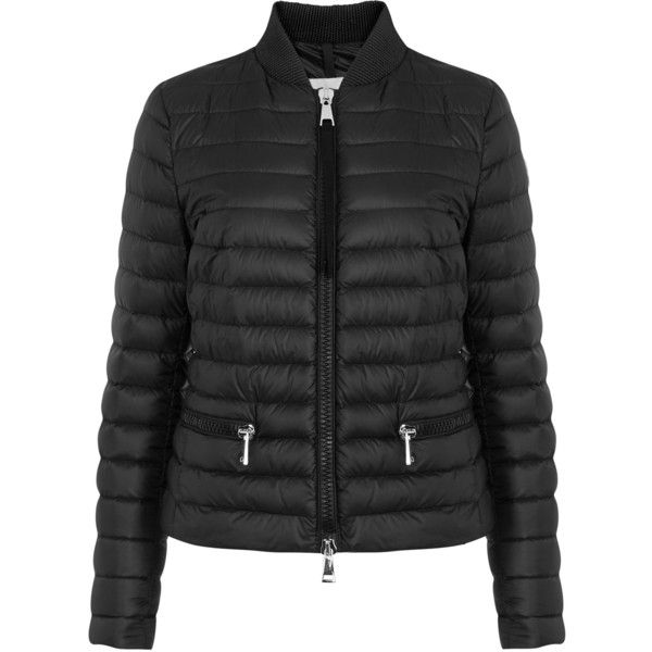 Moncler Blein Black Quilted Shell Jacket - Size 0 (51.345 RUB) ❤ liked on Polyvore featuring outerwear, jackets, padded jacket, quilted jacket, zipper jacket, moncler and feather jacket