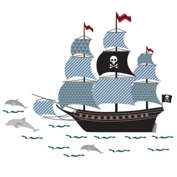 Kinder Wandaufkleber \'Piratenschiff\' schwarz/blau