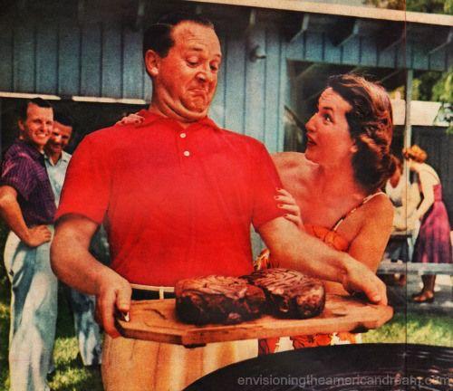 Vintage photo suburban man carrying steak