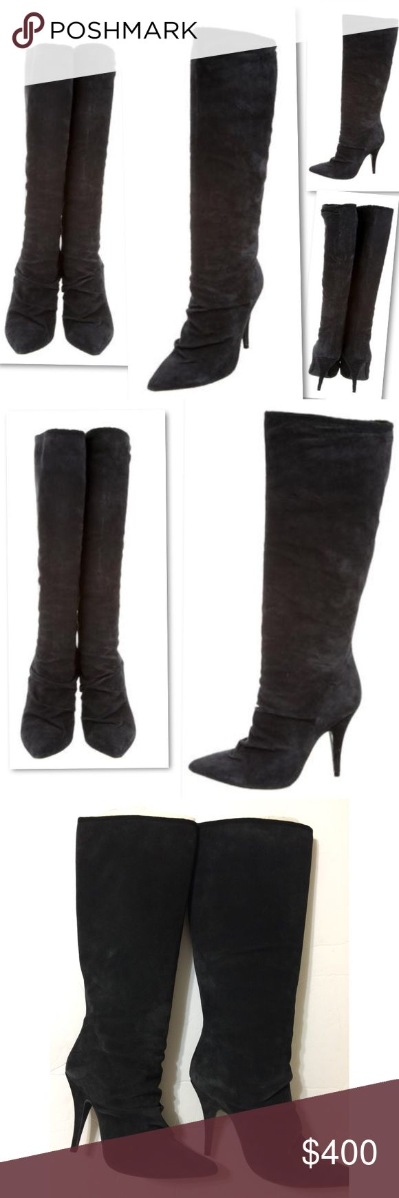 PEDRO GARCIA RUCHED PENCIL THIN SUEDE HEELS BOOTS PEDRO GARCIA RUCHED PENCIL THIN SUEDE HEELS BOOTS SZ 37 / 7 - LOOKS LIKE A CHARCOAL GREY / BLACK. IT MIGHT BE CHARCOAL GREY. SUEDE LEATHER CAN LOOK LIGHTER OR DARKER DEPENDING ON WHICH WAY YOU RUB YOUR HAND. BLACK IS WHAT I THINK IT IS.  IT WOULD PASS FOR EITHER - JUST TRIED ON IN STORE...   never wore them out  - boot addiction and must downsize - $600 yours for a steal Pedro Garcia Shoes Heeled Boots