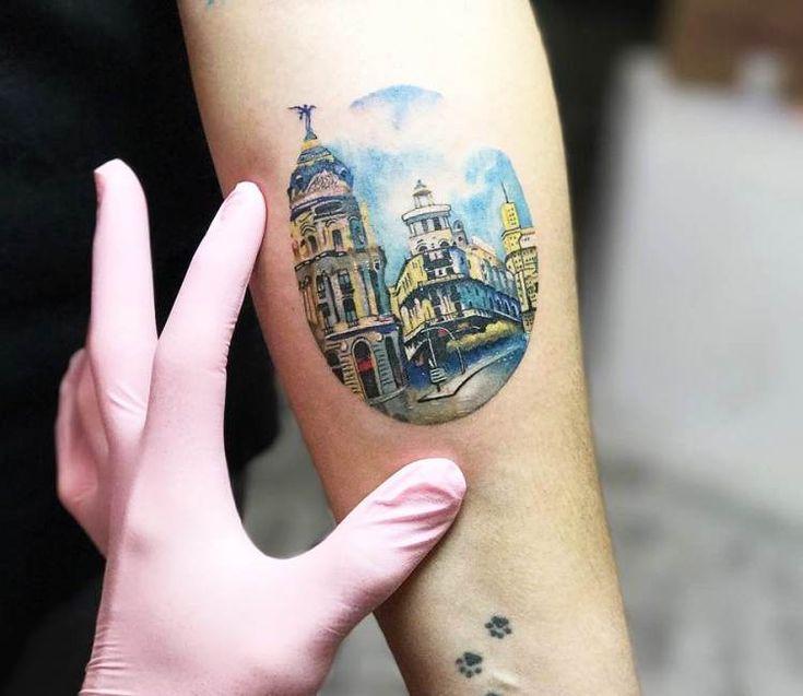 Gran via de Madrid tattoo by Andrea Morales