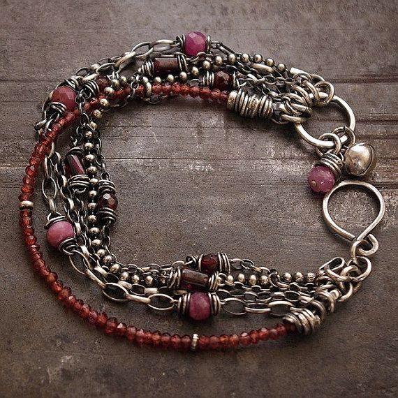 Garnet  bracelets  Chain bracelet  Sterling silver 925 by ewalompe