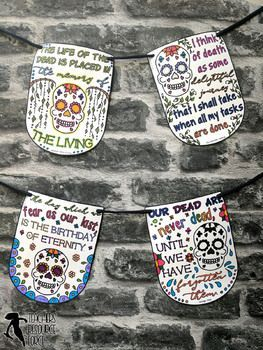 Day of the dead quote colouring pennants for your classroom!