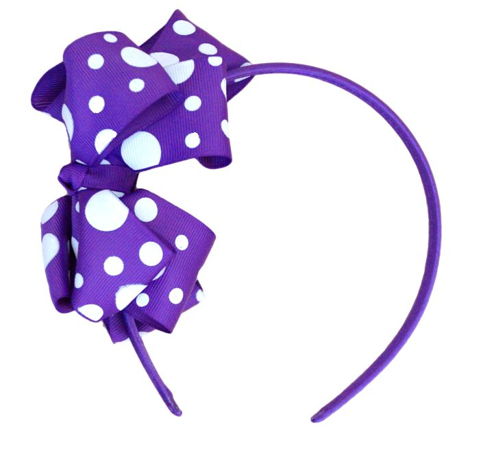 Girls Purple and White Spot Headband. Only $3.99.  Check out complete range of girls purple headbands at www.duckids.com.au