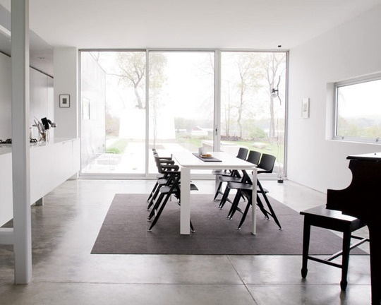 dining table in front of glass doors