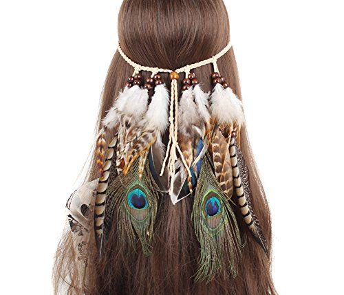 TININNA Diadema para el pelo de Pavo real Pluma Venda indio Hippie Bohemia Banda para el cabello Tocado Tribal Accesorios para el cabello-Color 1#