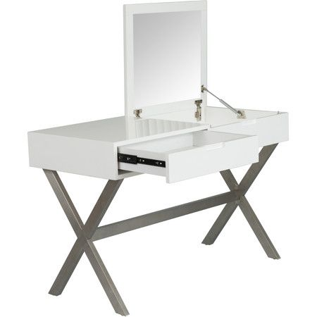 One part desk, one part vanity, this design performs stylish double duty in your powder room or master suite.Product: Vanity desk...