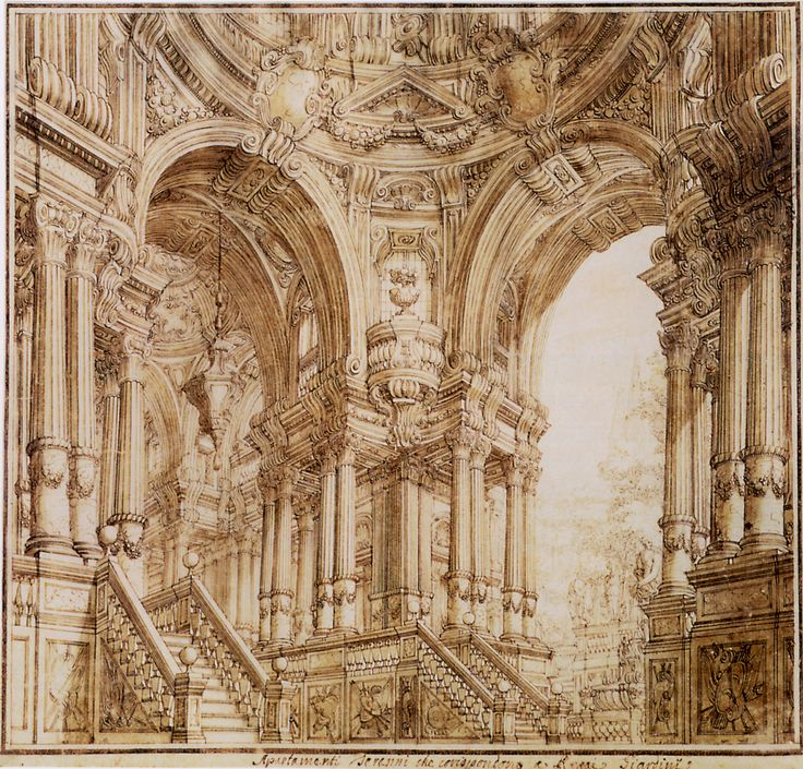 Baroque theatre design for a stage set with a palace hall leading to another huge arch to a garden antonio galli bibiena