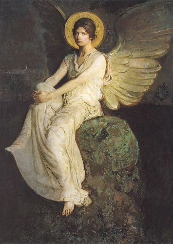 "Abbott Handerson Thayer (American,1849-1921), ""Winged Figure Seated upon a Rock"": Figure Seated, Angeli Tutti, Angels Deva S Ascended, Rock Abbott Handerson, Thayer American 1849 1921, Handerson Thayer, Angel Art, Angelic Dissorder, Winged Figure"