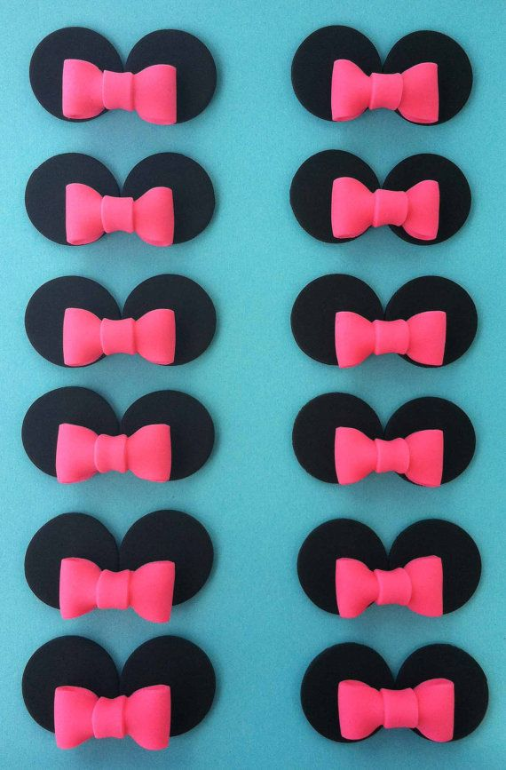 12 Minnie Mouse Inspired Cupcake Toppers by KORYKAKES on Etsy, $16.95