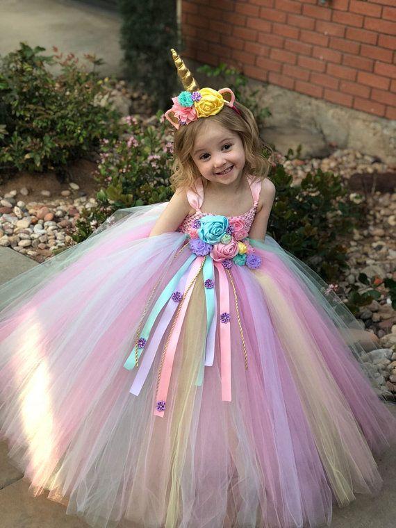 USA Child Girl Unicorn Princess Floral Fluffy Gown Birthday Tutu Dress Costume