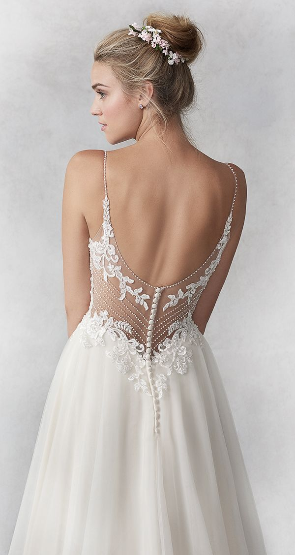 e3ba0ed20b17 Ella Rosa style BE449 / Sweet Lace Aline gown / Plain English Net Skirt /  Sweetheart Neckline / Spaghetti Straps / Low Open Back / Romantic Wedding  Gown ...