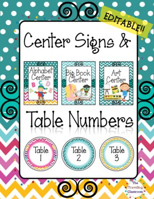 TheTravelingclassroom  from  Editable Center Signs & Table Numbers {Chevron Polka Dot} on TeachersNotebook.com -  (149 pages) - Beautiful Center Signs & Table Numbers Set that you can easily print out, laminate, and put to use immediately in your classroom!