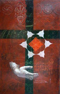 """Saatchi Art Artist remus-lucian stefan; Painting, """"Criss-Cross Leonardo (μητέρα)"""" #art"""