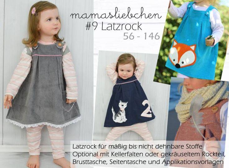 ... Nähanleitung und Schnittmuster für einen Latzrock für Kinder (Rock