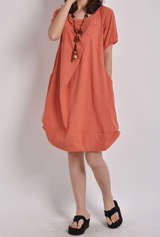 Orange linen dress maxi dress short sleeve skirt cotton dress casual loose shirt cotton shirt long dress women linen shirt plus size dress
