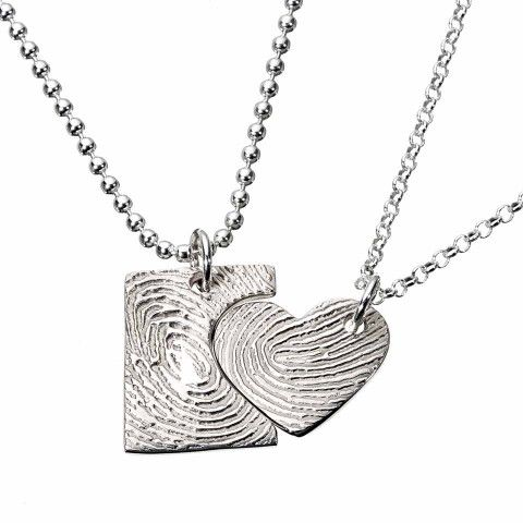 His & Her Fingerprint Necklace set