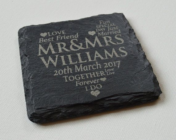 Personalised Engraved Slate Coasters Wedding by FlolliePopDesigns