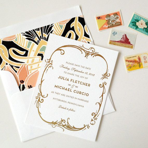 gold and ivory embossed save the date Etsy, $4.00.