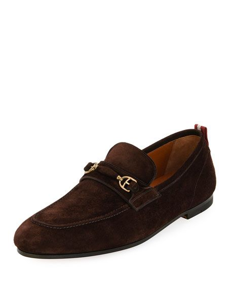 BALLY Plintor Suede Bit-Strap Loafer, Brown. #bally #shoes #