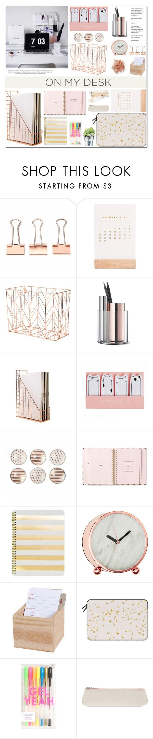 """""""On My Desk"""" by makeupgoddess ❤ liked on Polyvore featuring interior, interiors, interior design, home, home decor, interior decorating, Thrive, U Brands, Kate Spade and Beyond Object"""