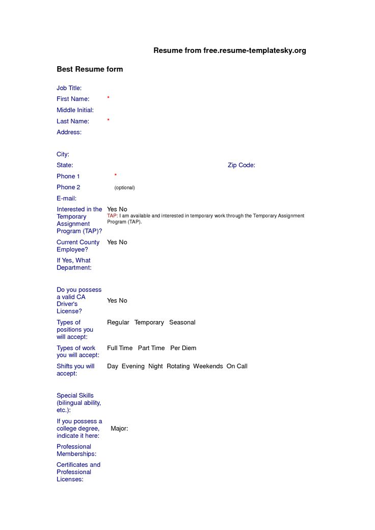 Auto Fill Resume Templates In The Blank For Microsoft Word Simple ...