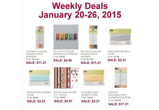 Stampin  Up Weekly Deals http://www.mychicnscratch.com/2015/01/stampin-up-weekly-deals-10.html