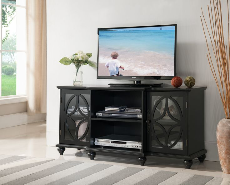 "Pilaster Designs - 47"" Wood Black TV Stand Entertainment Center Storage Console, With Glass Doors & Storage"