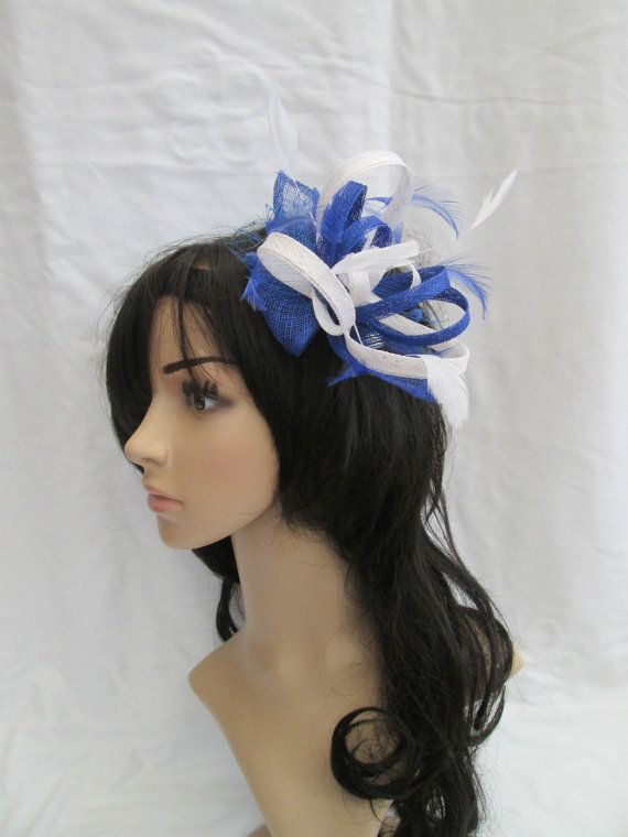 Blue and white fascinator.. Stunning Sinamay and  Feather Fascinator with Leaves,loops & hackle Feathers #etsy #fascinator