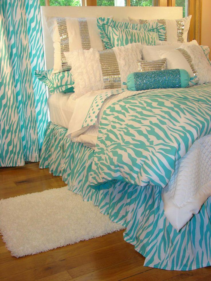 Mesmerizing Turquoise Girls Room: Fascinating Turquoise Zebra Glamour Bedding ~ ericpoll.com Bedroom Inspiration