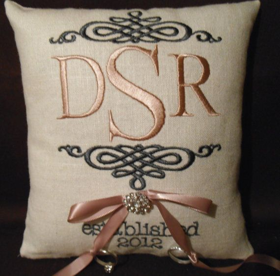 Monogram Embroidery Ring Bearer Pillow RB138 by ElegantThreadsEtc, $32.95