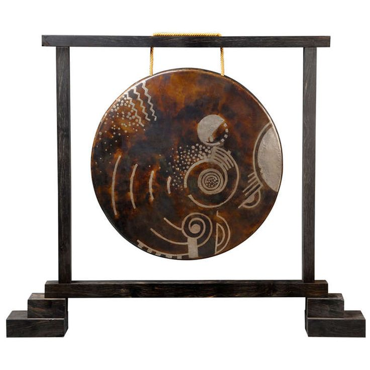 Jean Dunand Rare, Art Deco Gong in Geometric Dinanderie | From a unique collection of antique and modern decorative objects at http://www.1stdibs.com/furniture/more-furniture-collectibles/decorative-objects/