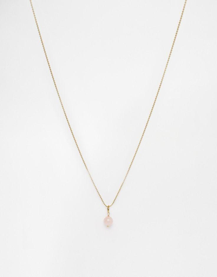 Halskette von Mirabelle goldfarben feine Kugelkette Rosenquarz-Anhänger 100% Messing