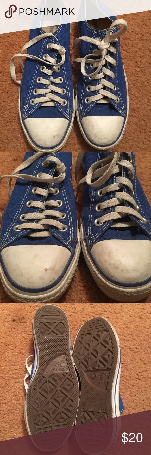 Royal Blue Converse Great Condition Converse. Size Men's 6. Ladies 8. Edit:// cleaned the white front part, last photo is them now. Converse Shoes Sneakers