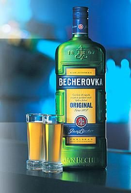Becherovka liqueur - 'fire juice'that Jana drinks with the Martineks.