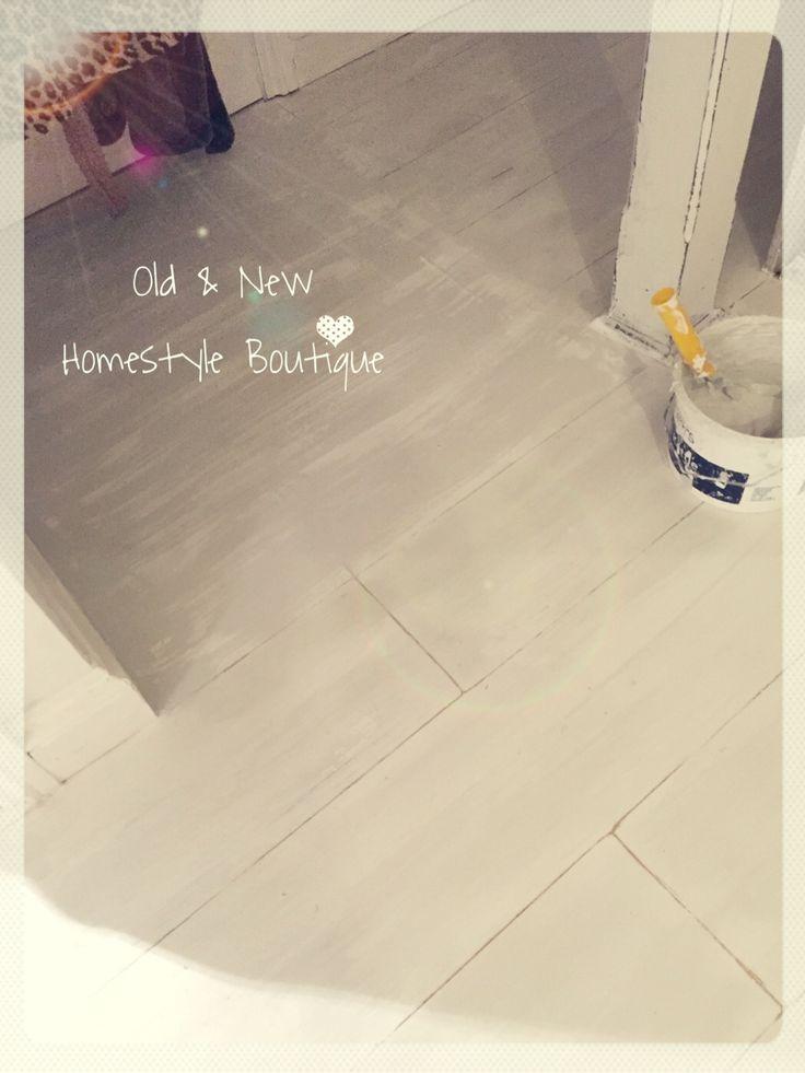 Laminate Floor Painted With Chalk Paint, Distressed To Look Like Planks U0026  Varnished.