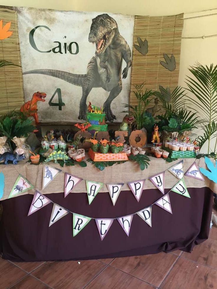 Awesome dessert table at a dinosaur birthday party! See more party ideas at CatchMyParty.com!