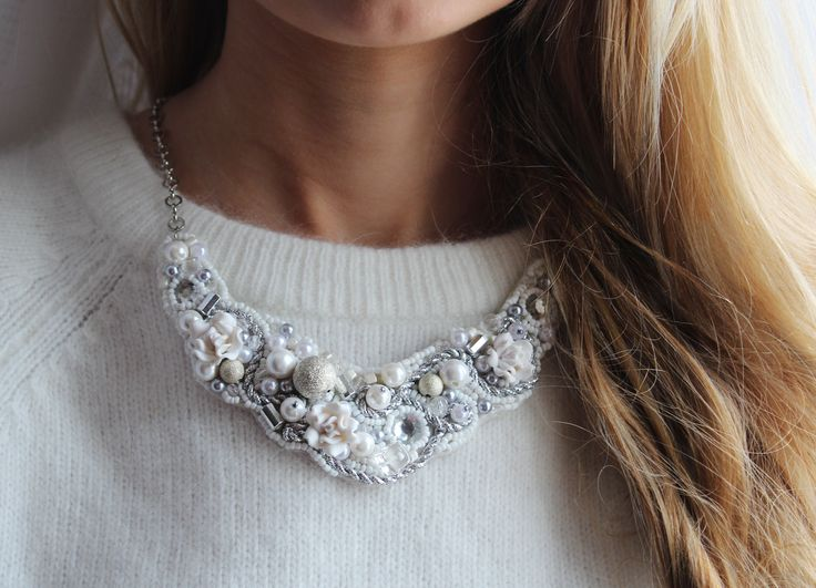 Model B44  #Statement necklace  #white  #silver  #roses