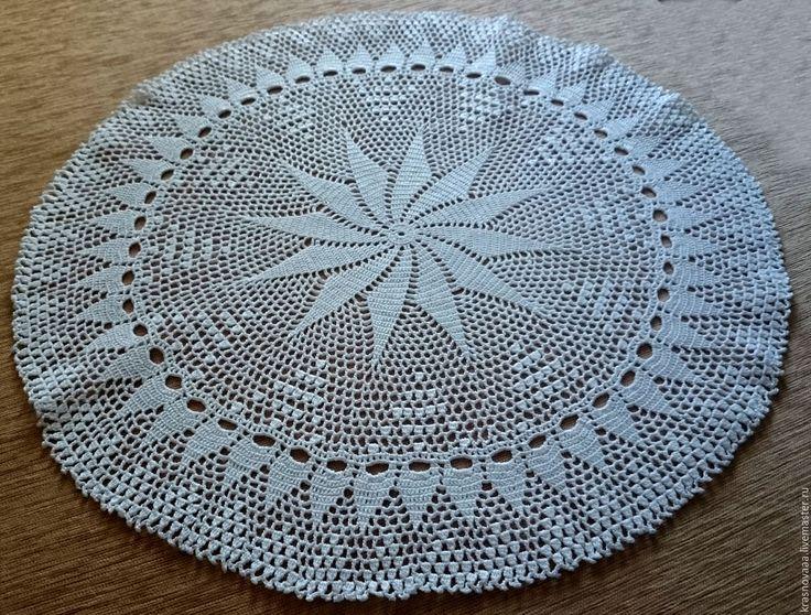 Купить Салфетка №3 - белый, салфетка крючком, салфетка, круглая салфетка, белая, белый цвет