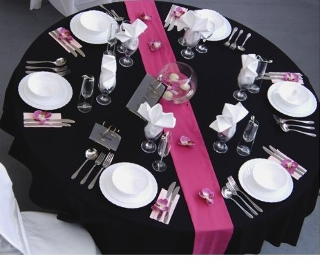 Table with pink and add orange