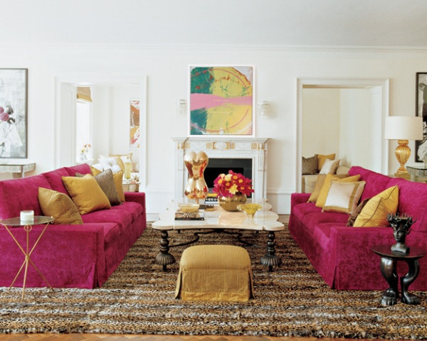 Tamara Mellon's living roomPink Sofa, Elle Decor, Colors, Livingroom, Living Room, Animal Prints, Gold Accent, Chic Home Decor, Design Style