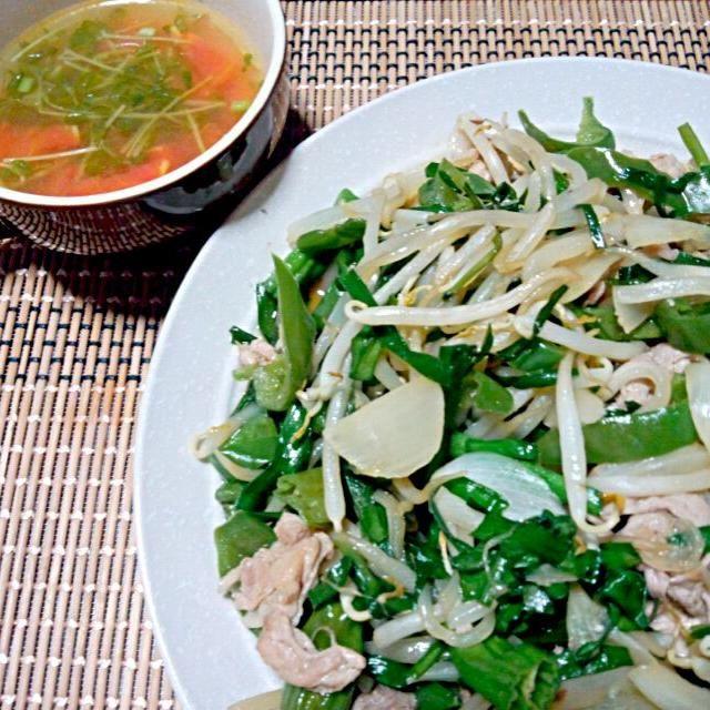 *豚肉野菜炒め *豆苗とトマトの中華スープ - 40件のもぐもぐ - 晩ご飯 by yukimaru218
