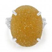 Zilveren ring met een glitter agaat
