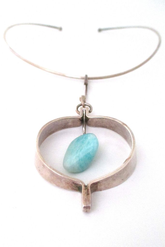 Anna Greta Eker large amazonite pendant & neck ring #necklace #Norway #pendant
