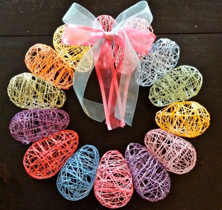 Click Pic for 25 DIY Easter Decorations for the Home - Thread Egg Wreath - Easter Table Decorations