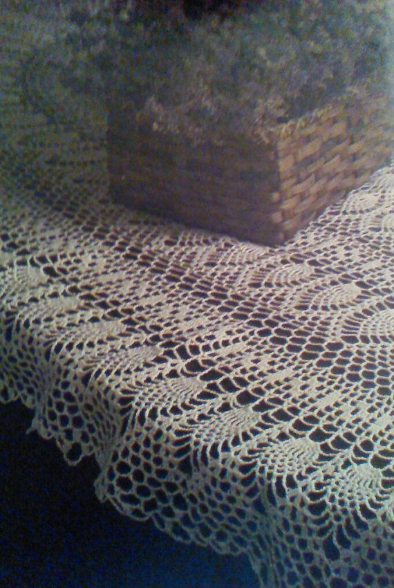 Vintage Crochet Oval Pineapple Tablecloth Pattern by ...