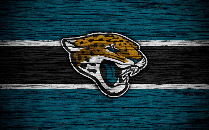 Download wallpapers Jacksonville Jaguars, NFL, American Conference, 4k, wooden texture, american football, logo, emblem, Jacksonville, Florida, USA, National Football League