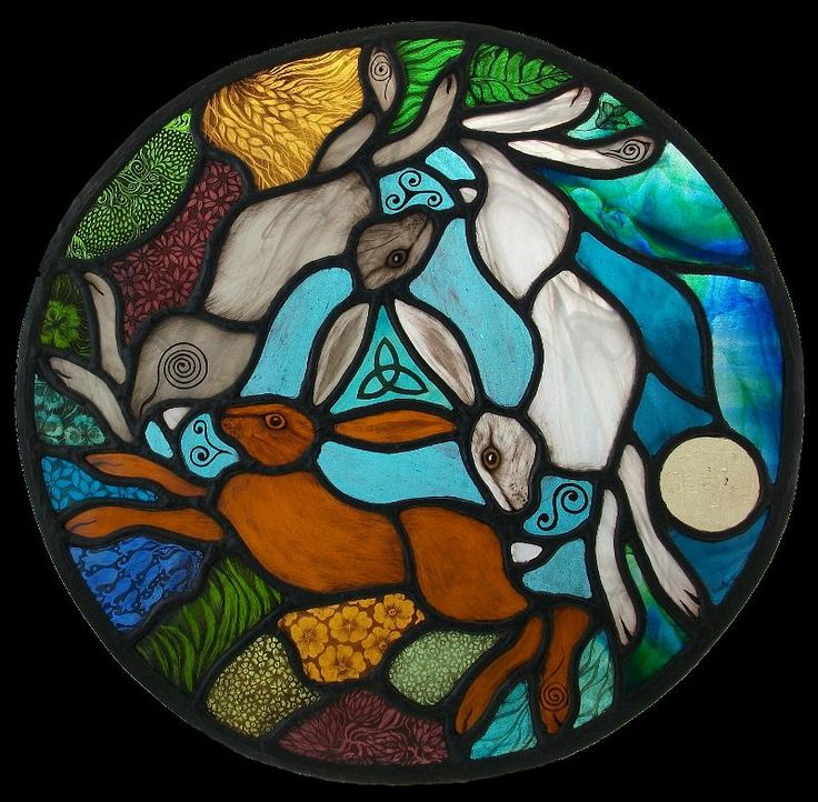 'The Three Hares' round panel for a cottage in West Cork, Ireland by Angie @ Hare Moon Stained Glass